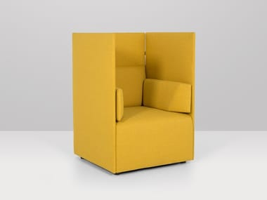 High-back fabric armchair with armrests CENTRAL | High-back armchair