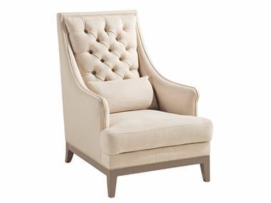 Tufted high-back leather armchair with armrests EPOQ   High-back armchair
