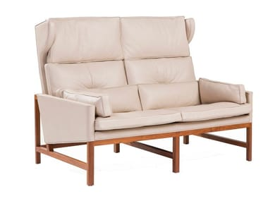 High-back leather small sofa WOOD FRAME LOUNGE | High-back small sofa