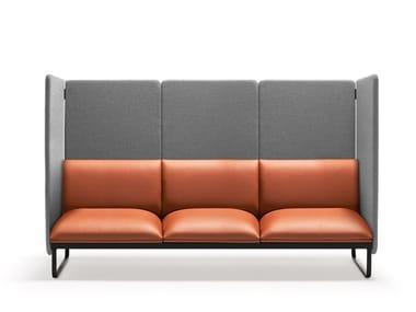 Sled base high-back leather sofa LOFT X | High-back sofa