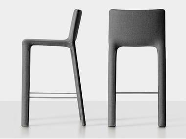 High upholstered fabric stool with back JOKO | High stool