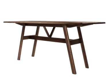 Rectangular solid wood high table KANT | High table