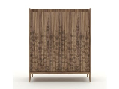Walnut highboard with drawers TRAME | Highboard