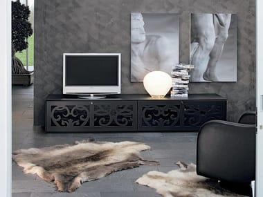 Low wood and glass TV cabinet PARIS | TV cabinet