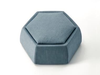 Hexagonal upholstered fabric pouf HONEY
