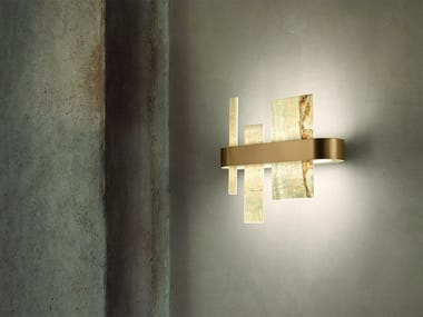 LED wall lamp in metal and onyx HONICÉ A37