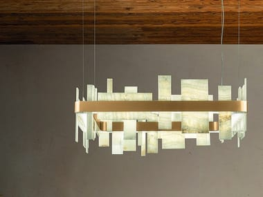 LED pendant lamp in metal and onyx HONICÉ S80