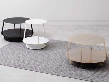 Round metal coffee table with integrated magazine rack HOOP NAKED