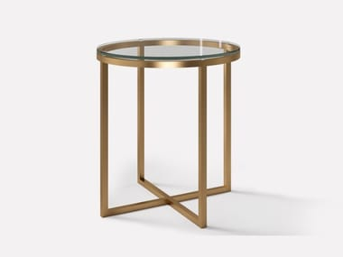Round copper and glass side table HOPE | Coffee table for living room