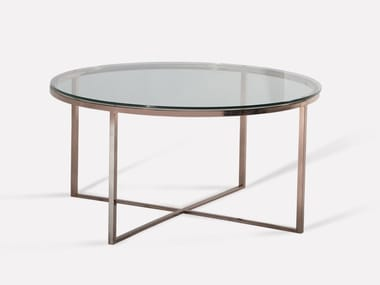 Round copper and glass coffee table HOPE | Coffee table