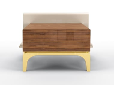 Bedside table with walnut drawer and metal legs HORIZON | Bedside table