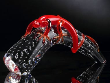 Glass decorative object HORN WITH GEKO