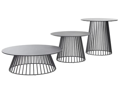 Round HPL garden side table GRID | HPL coffee table