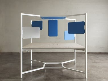 Multiple office workstation with sound absorbing screens for open space HUB | Office workstation
