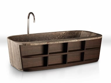 Freestanding marble and wood bathtub HUG | Bathtub