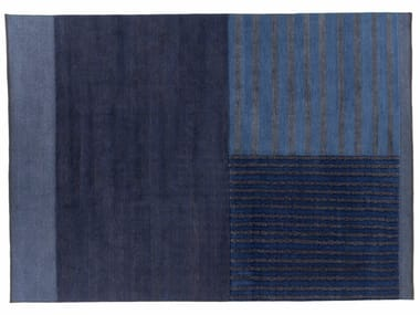 Handmade rectangular rug HUNUA BLU