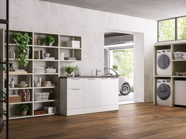 Mobile lavanderia componibile per lavatrice HYD04 | Mobile lavanderia