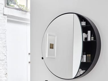 Round wall-mounted mirror with cabinet I CATINI ROUND BOX