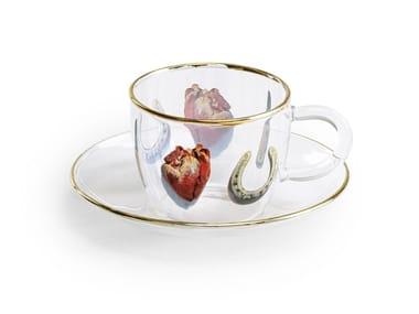 Taza de café de vidrio borosilicato con platillo I LOVE YOU   Taza