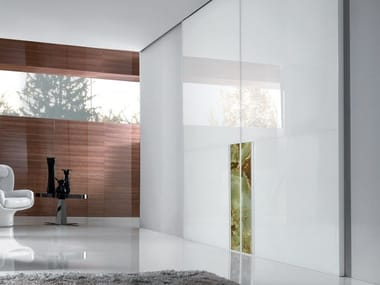 Lacquered tempered glass sliding door IANUS | Lacquered door