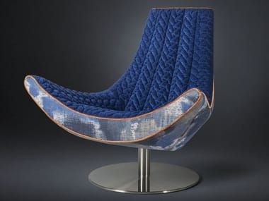 Swivel fabric armchair IBIIZA