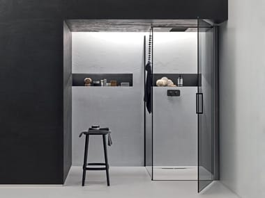 Shower enclosure with wing door and fixed side ICARO | Corner shower cabin