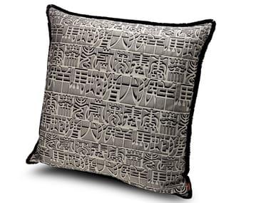 Cuscino in tessuto jacquard con seta IDEOGRAMMA   Cuscino in raso