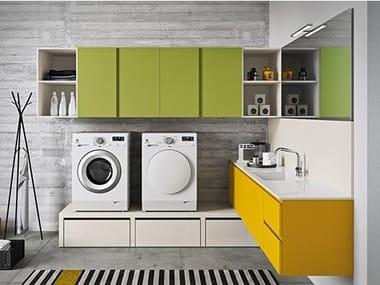 Mobile lavanderia laccato per lavatrice IDROBOX COMP. 12