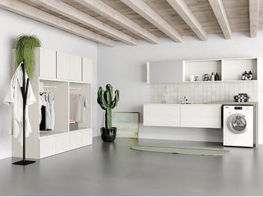 Mobile lavanderia in derivati del legno con lavatoio per lavatrice IDROBOX COMP. 4