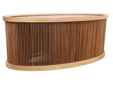 Low teak coffee table with light IJUS | Teak coffee table