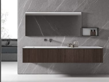 Wall-mounted vanity unit with drawers IKON 01