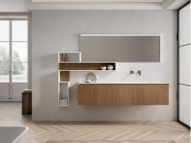Wall-mounted vanity unit with drawers IKON 04