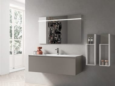 Wall-mounted vanity unit with drawers IKON 06