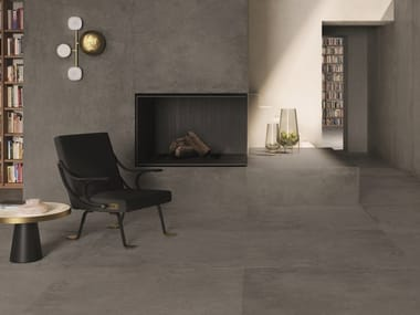 Porcelain stoneware wall/floor tiles with concrete effect IKON GREY