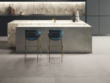 Porcelain stoneware wall/floor tiles with concrete effect IKON SILVER