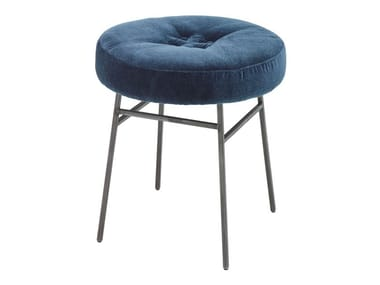 Low upholstered fabric stool ILOT