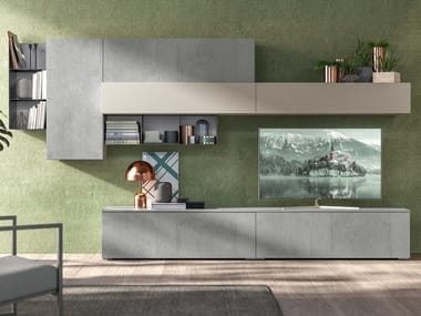 Sectional lacquered storage wall IMMAGINA PLUS HEAD LIVING B