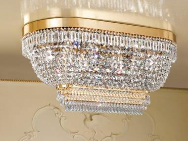 Lampada da soffitto incandescente in metallo cromato con cristalli IMPERO VE 820