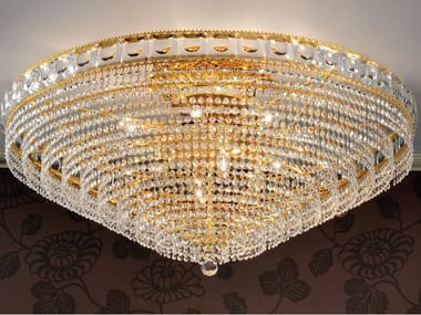 Lampada da soffitto incandescente in ottone con cristalli IMPERO & DECO VE 830 PL8 / PL12