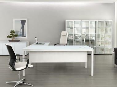 Mesa de escritório de canto de vidro IMPULS | Mesa de escritório de canto
