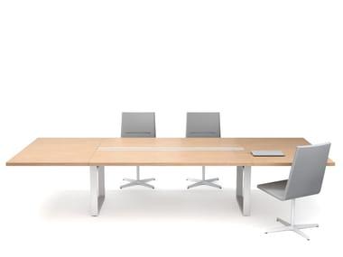 Tavolo da riunione modulare in legno con sistema passacavi IN-TENSIVE MODULAR