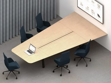 Modular multimedia wooden meeting table with cable management IN-TENSIVE VISIO