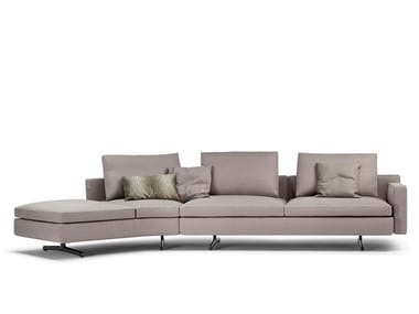 Curved 3 seater fabric sofa with removable cover IN THE MOOD | Fabric sofa
