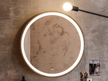 Espelho moldurado de madeira estilo moderno de parede para banheiro INCANTO | Espelho redondo
