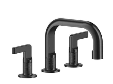 3 hole countertop brass washbasin mixer with pop up waste INCISO - | Washbasin mixer with pop up waste