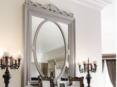 Rectangular framed wall-mounted wooden mirror INCONTRI | Mirror