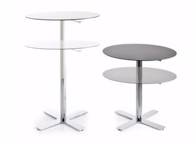 Height-adjustable round table with 4-star base INCROCIO | Height-adjustable table