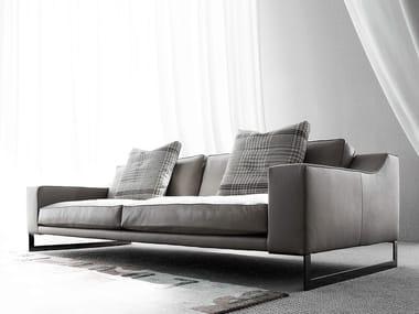 Sled base 3 seater leather sofa INDIZIO | Leather sofa