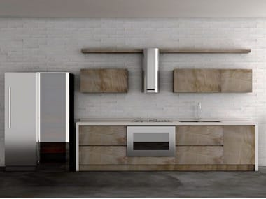 Linear olive wood kitchen INDUSTRIAL CHIC