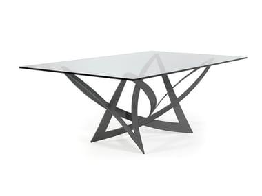 Tavolo da pranzo rettangolare in ferro e vetro INFINITO | Tavolo in vetro